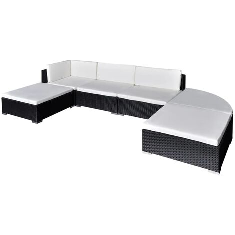 Clein 5 Seater Rattan Corner Sofa Set by Ivy Bronx - Black