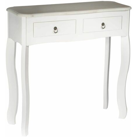 Clemence - Console Blanche 2 Tiroirs Style Baroque
