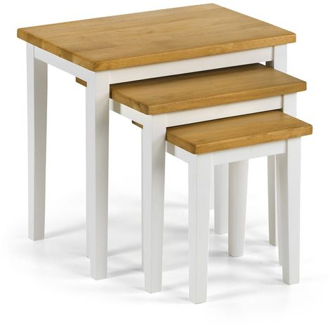 Cleo Nest Of 3 Tables - White/Light Oak Finish Home Furniture