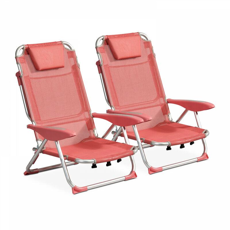 Lot de 2 fauteuils Clic Clac des plages Clic Clac des Plages - Corail - Rose