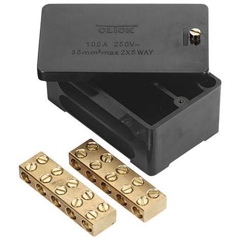 Click Black 100A 2 Pole 5X35mm2 Link Box (WA228)