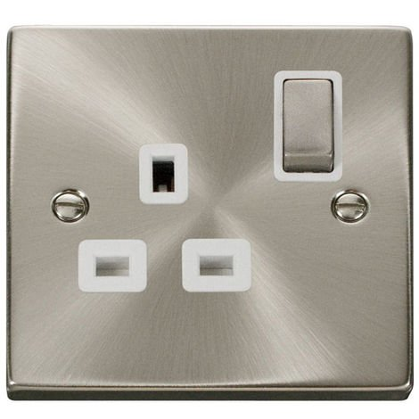 Click Deco 13A 1G DP Ingot Switched UK Socket Outlet with White Insert Front (VPSC535WH)