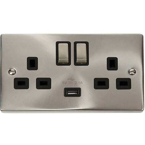 Click Deco 13A 2G DP Ingot Switched Socket Outlet with USB Charge point and Black Insert (VPSC570BK)