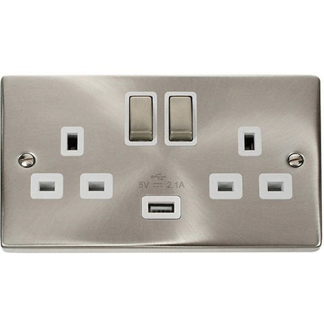 Click Deco 13A 2G DP Ingot Switched Socket Outlet with USB Charge point and White Insert (VPSC570WH)