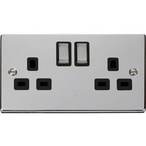 Click Deco 13A 2G DP Ingot Switched UK Socket Outlet with Black Insert Front (VPCH536BK)