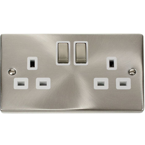 Click Deco 13A 2G DP Ingot Switched UK Socket Outlet with White Insert Front (VPSC536WH)