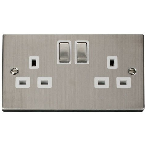 Click Deco 13A 2G DP Ingot Switched UK Socket Outlet with White Insert Front (VPSS536WH)