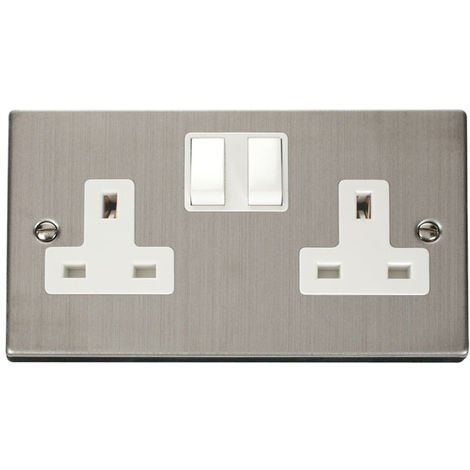 Click Deco 13A 2G DP Switched UK Socket (Twin Earthed) (VPSS036WH)