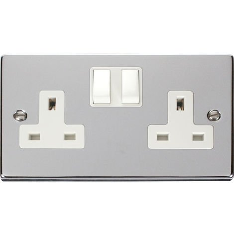Click Deco 13A 2G DP Switched UK Socket (Twin Earthed) with White Insert Front (VPCH036WH)