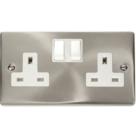 Click Deco 13A 2G DP Switched UK Socket (Twin Earthed) with White Insert Front (VPSC036WH)