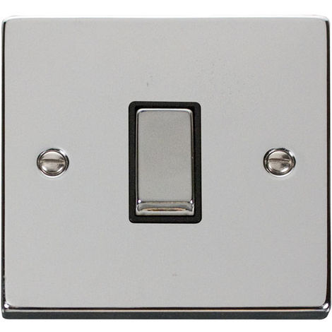 Click Deco 1G 2 Way 10AX Ingot Switch with Black Insert Front (VPCH411BK)