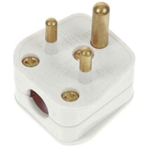 Click Essentials 2A Round Pin Plug White (PA165)