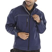 Click SSJNM Soft Shell Jacket Water Resistant Breathable Fabric Navy Blue Medium