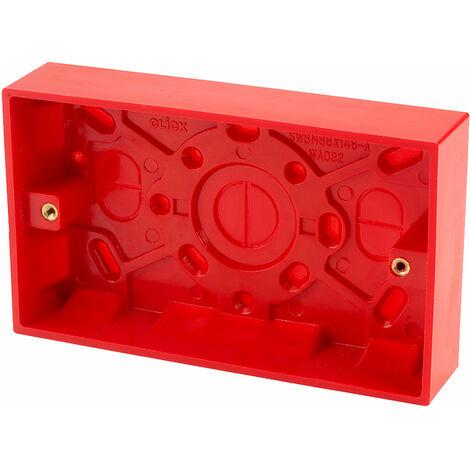 Click WA185 2 Gang 25mm Deep Pattress Box Red