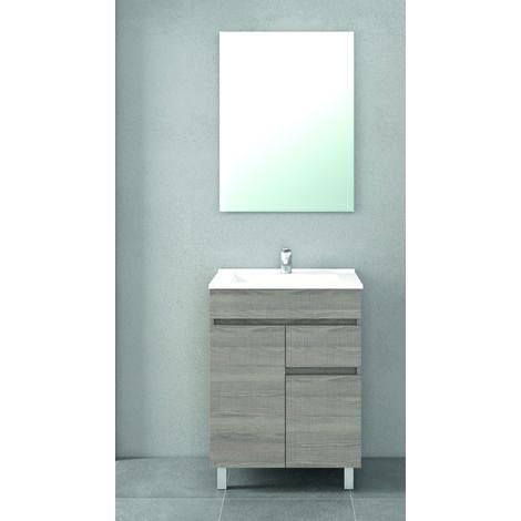 Mueble de baño con Lavabo de Cerámica 2 puertas y 1 cajón - Mueble Montado - Ancho 60 cms - Estepa - Modelo CLIF