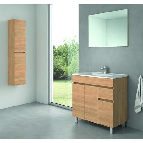 Clif Mueble de baño con lavabo de Cerámica -  3 / 2 Puertas y 1 cajon - 100/80/60 cms.