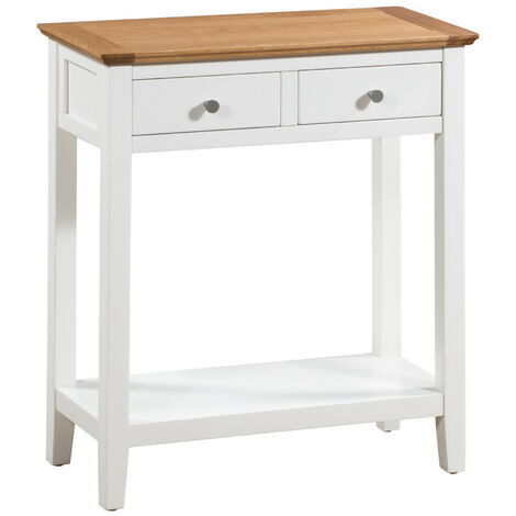 Clifton Oak Large Off White Painted Console Table | Cream Wooden Hallway / Side / End / Telephone / Lamp Table Desk with 2 Drawer and Shelf