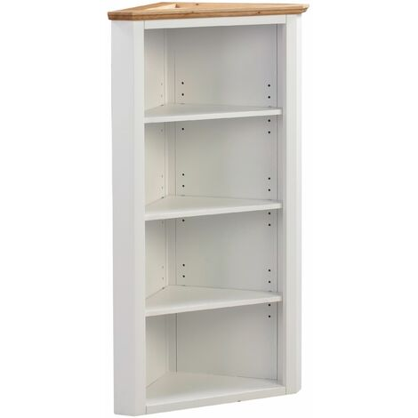 Clifton Oak Off White Painted Small Corner Storage Cupboard | Cream Wooden Low Hallway Cabinet with Shelf