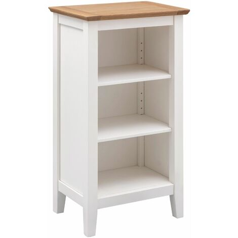 Clifton Oak Off White Painted Wooden Small Bookcase | Compact 3 Shelf Storage Low Bookshelf | Narrow Solid Wooden Bookshelves Unit
