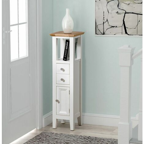 Clifton Oak Small Off White Painted Wooden Hallway Cabinet | Cream Compact Bathroom Cupboard / Tower | Bedside / Telephone / Side / Console End Table Nightstand Unit