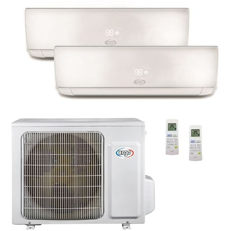 Climatisation bi-split 4.1KW reversible DC inverter complet 2 unités murales 3.5KW + 2.5KW blanc R32 (UE+2UI) ECOLIGHT ARGO