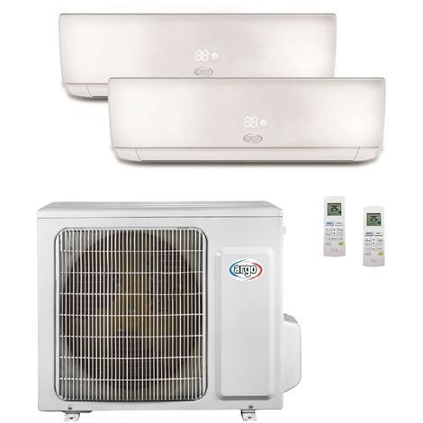 Climatisation bi-split 6.1KW reversible DC inverter complet 2 unités murales 3.5KW + 5KW blanc R32 (UE+2UI) ECOLIGHT ARGO