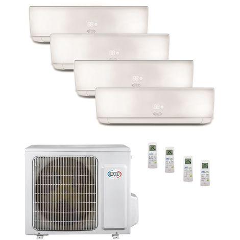 Climatisation quadri-split 8KW reversible DC inverter complet 4 unités murales 2.5KW blanc gaz R32 (UE+4UI) ECOLIGHT ARGO