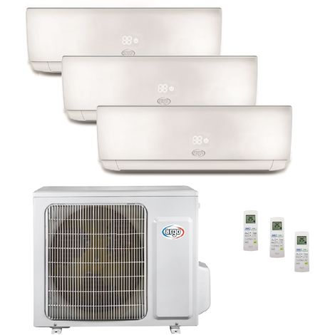 Climatisation tri-split 6.1KW reversible DC inverter complet 3 unités murales 2x2.5KW +3.5KW blanc R32 (UE+3UI) ECOLIGHT ARGO