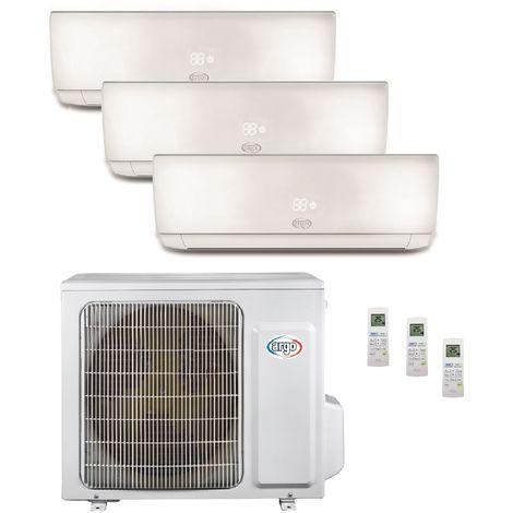 Climatisation tri-split 8KW reversible DC inverter complet 3 unités murales 2x3.5KW + 5KW blanc R32 (UE+3UI) ECOLIGHT ARGO
