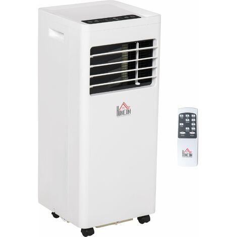 Climatiseur portable 8.000 BTU/h 860 W - ventilateur, déshumidificateur - réfrigérant naturel R290 - télécommande - débit d'air 300 m³/h - blanc