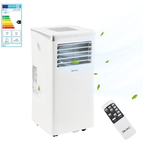 Climatiseur Portable R290 Refroidisseur Déshumidificateur Ventilateur 2 Vitesses 2600 W 9000 BTU Set Isolation Fenêtre Télécommande Classe Énergétique A pour 12-40 m² Blanc
