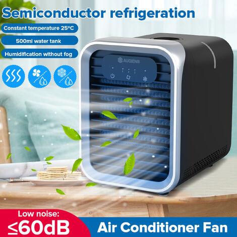 Climatiseur portatif évaporatif Humidificateur à ventilateur mini refroidisseur LED Air, refroidisseur d'air, 3 vitesses, boutons d'écran tactile LED, humidificateur et purificateur de bureau (argent, version mise à jour)