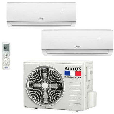 Climatiseur réversible Bisplit + Pompe à chaleur Airton - Fluide R32 - 2600W+3500W - 30m²+40m²