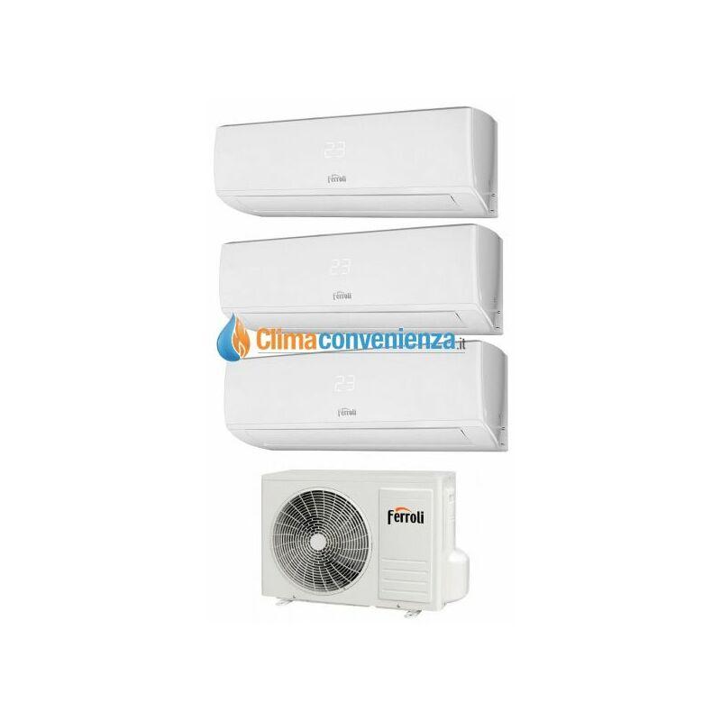 Climatizzatore Condizionatore Ferroli Trial Split Inverter R32 serie GOLD 3.2 9000+9000+9000 con 24 3 9+9