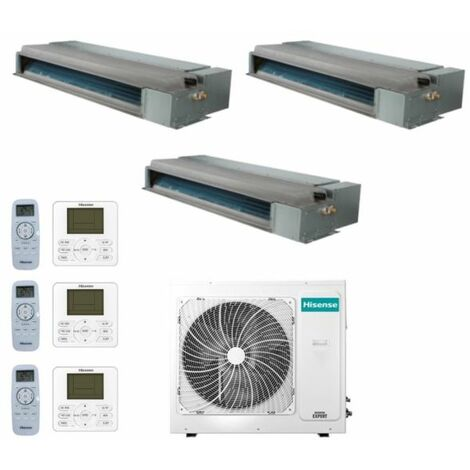 Climatizzatore Condizionatore Hisense Trial Split Canalizzabile 9+9+12 con 3AMW72U4RFA R-32 9000+9000+12000 con Telecomando di Serie e Cablato