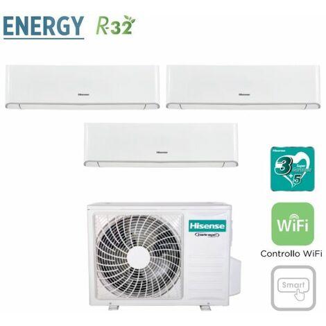 Climatizzatore Condizionatore Hisense Trial Split Inverter serie ENERGY 9+9+12 con 3AMW62U4RFA R-32 Wi-Fi Integrato 9000+9000+12000 - New