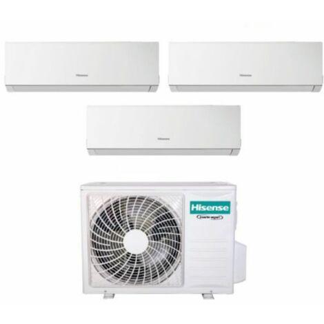 Climatizzatore Condizionatore Hisense Trial Split Inverter Serie NEW COMFORT 7+7+9 con 3AMW62U4RFA R-32 Wi-Fi Optional 7000+7000+9000- New