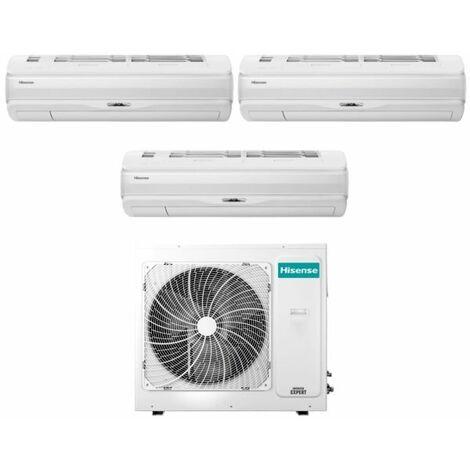Climatizzatore Condizionatore Hisense Trial Split Inverter serie SILENTIUM PRO 9+9+12 con 3AMW62U4RFA R-32 Wi-Fi Integrato 9000+9000+12000 - Novità