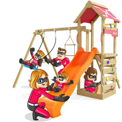 """main image of """"Climbing Frame Active Heroows Swing Set with Sandpit and Climbing Wall, Swing & Orange Slide, Lots of Accessories"""""""