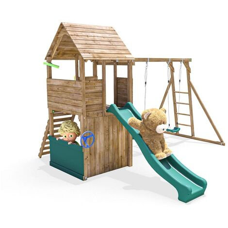 Climbing Frame FortPlus Escape - Wooden Playset with Monkey Bars Climbing Wall Slide Swing Playhouse Den