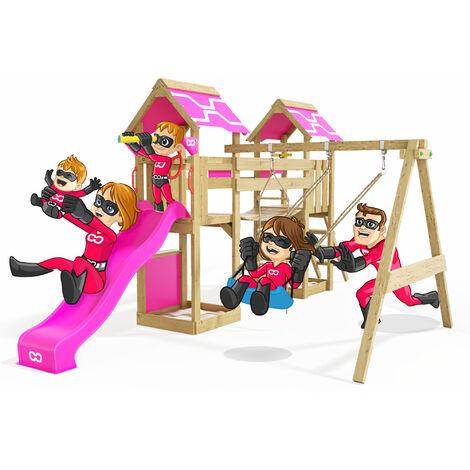 "main image of ""Climbing Frame Impressive Heroows Swing Set with Wobbly Bridge, 2 Sandpits, Climbing Wall, Climbing Ladder, Swing & Purple Slide"""