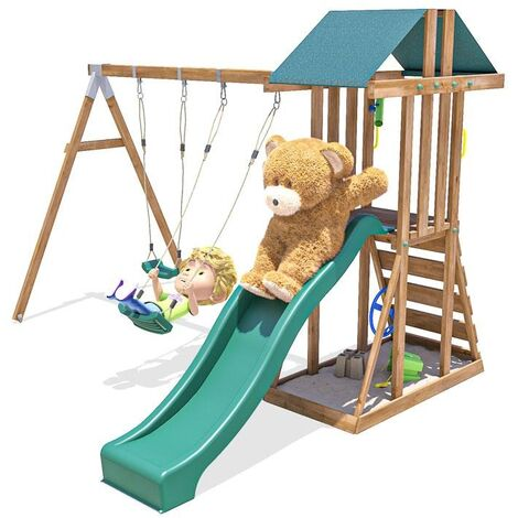 Climbing Frame JuniorFort Tower - Wooden Playset with swings and slide