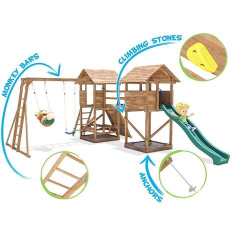 Climbing Frame MegaFort Mountain - Huge Kids Wooden Climbing Wall Monkey Bars Swing Set Slide Play Towers