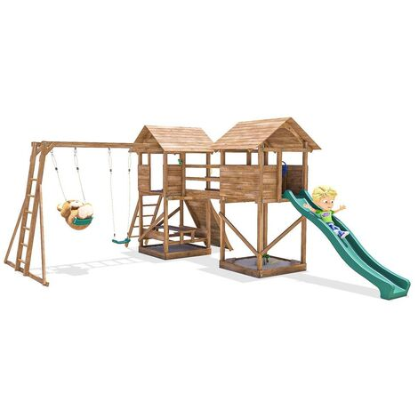 Climbing Frame MegaFort Mountain - Huge Kids Wooden Climbing Wall Monkey Bars Swing Set Slide Play Towers