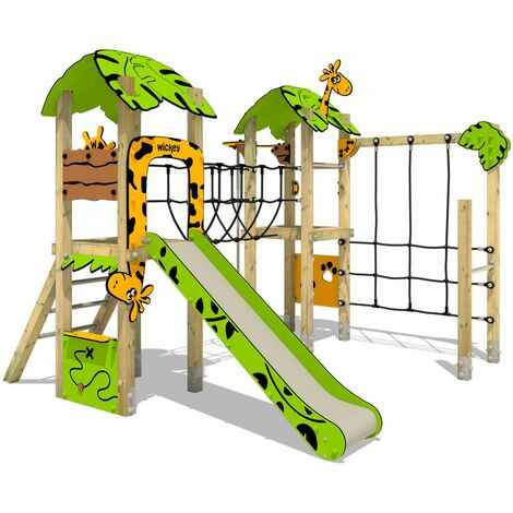 Climbing frame WICKEY PRO MAGIC Quest+ for public use - Developed according to DIN EN 1176 - Climbing tower with slide for kindergarten, school, hotel, restaurant, holiday park & campsite