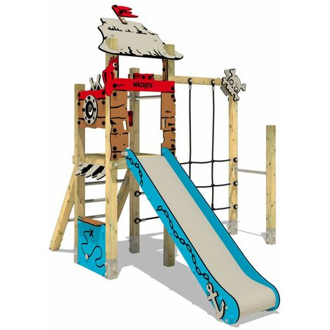 Climbing frame WICKEY PRO MAGIC Tale+ for public use - Developed according to DIN EN 1176 - Climbing tower with slide for kindergarten, school, hotel, restaurant, holiday park & campsite
