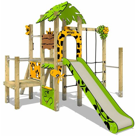 Climbing frame WICKEY PRO MAGIC Tour+ for public use - Developed according to DIN EN 1176 - Climbing tower with slide for kindergarten, school, hotel, restaurant, holiday park & campsite