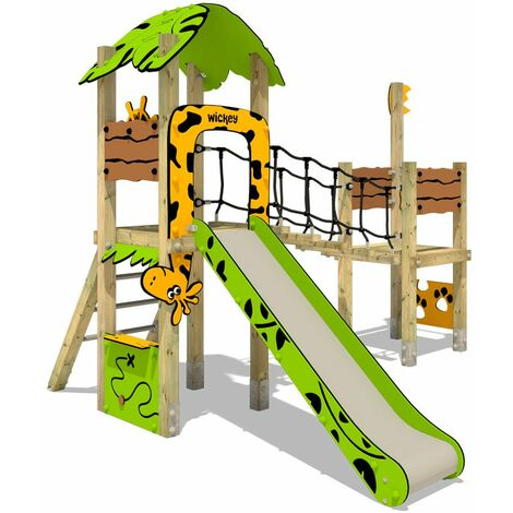 Climbing frame WICKEY PRO MAGIC Tribe+ for public use - Developed according to DIN EN 1176 - Climbing tower with slide for kindergarten, school, hotel, restaurant, holiday park & campsite