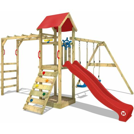 Climbing frame WICKEY Smart Bridge with swing, slide and sandpit, red