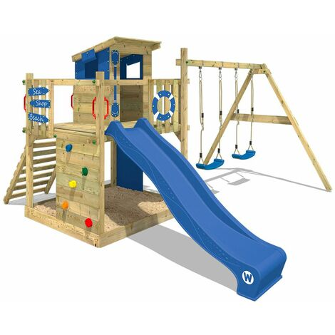 Climbing frame WICKEY Smart Camp with wooden roof and double swing
